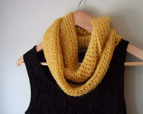 Yelllow Wool Infinity Scarf