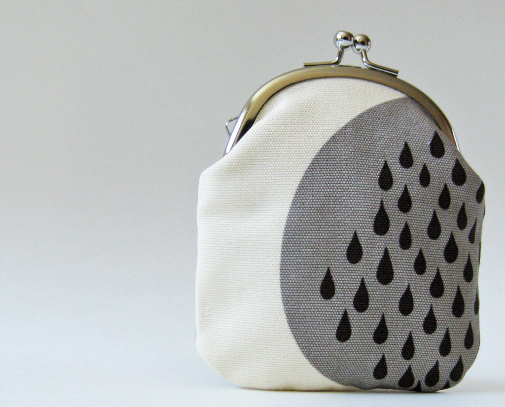 Tall coin purse - black rain drops on gray and natural by Oktak