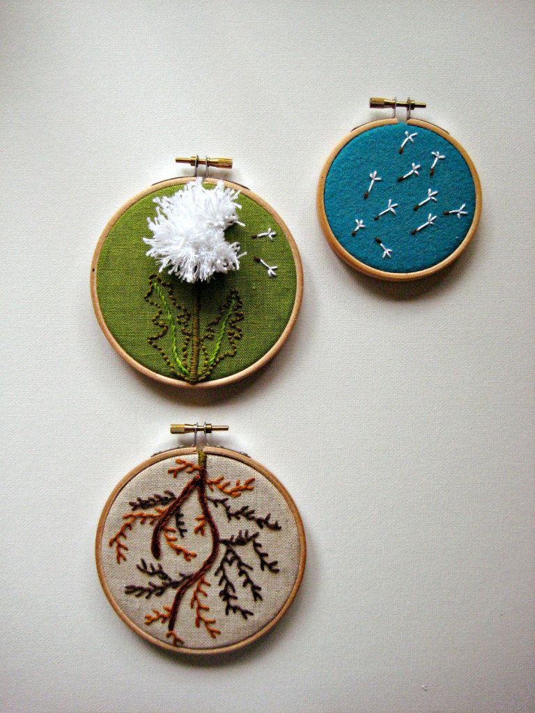 Dandelion Flower Embroidery Art by The Monsters Lounge
