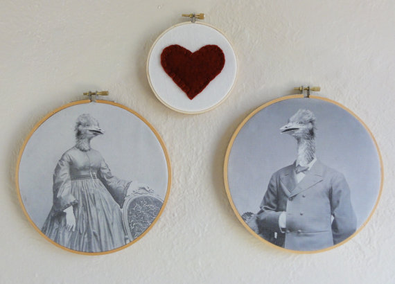 "Three hoop collection: ""Oliver and Odessa in love"" Anthropomorphic art by Design Lab 443"