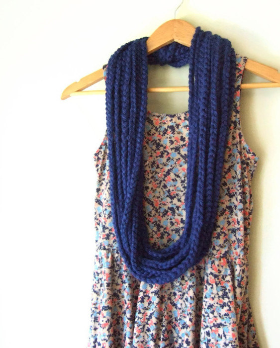 Royal Blue Chain Scarf by DottieQ