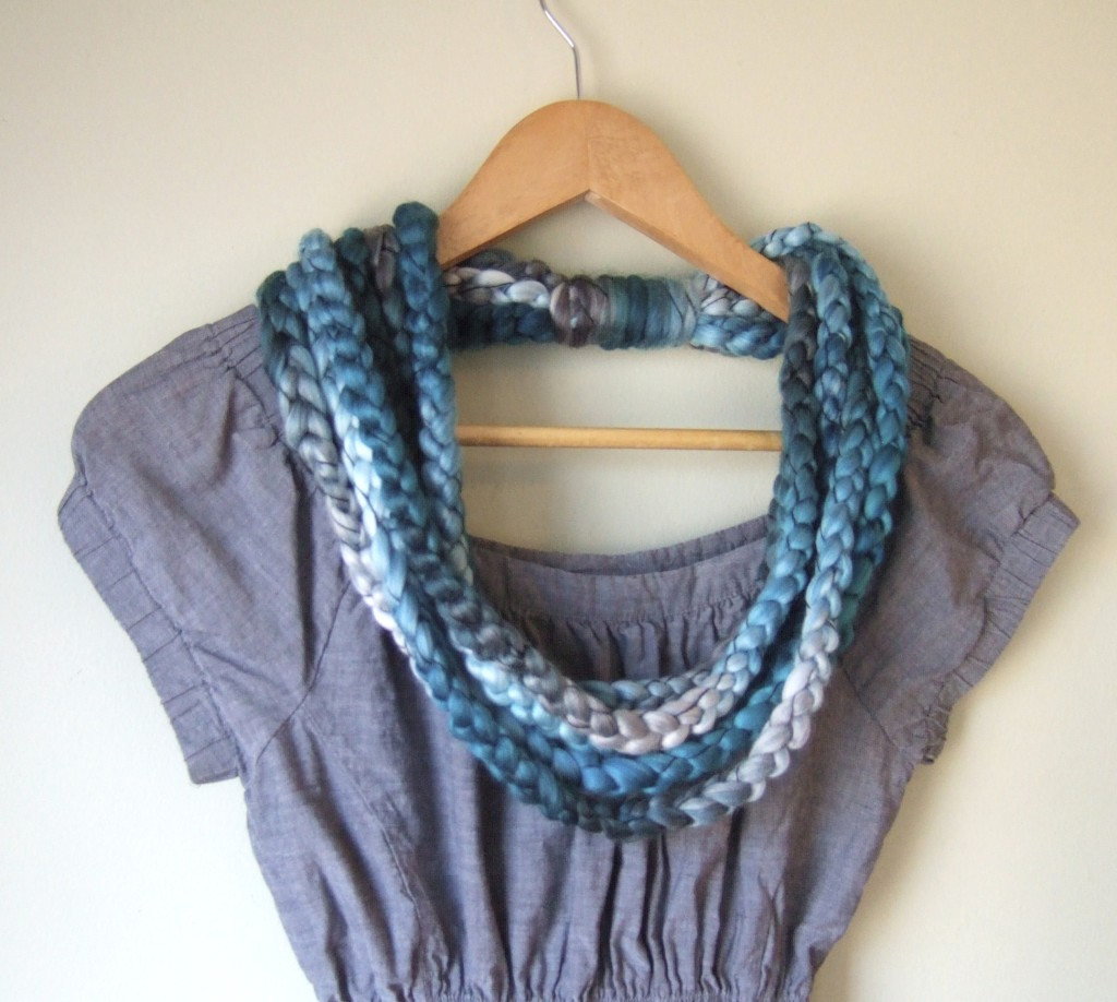 Teal Blue Ombre Scarf Necklace