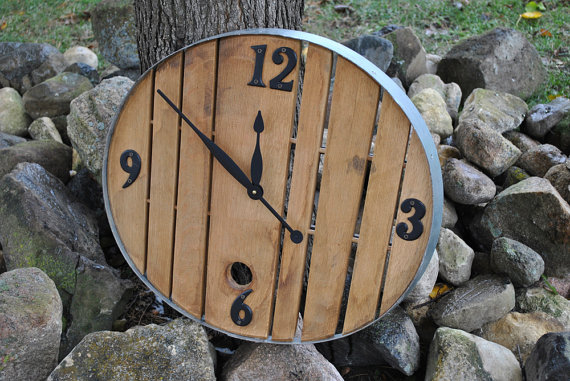 1933 Designs -Rustic Whiskey Barrel Clock