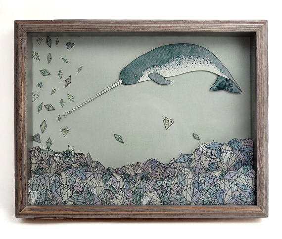 Sadly Harmless - Where You Least Expect It- Printed Narwhal Shadow Box