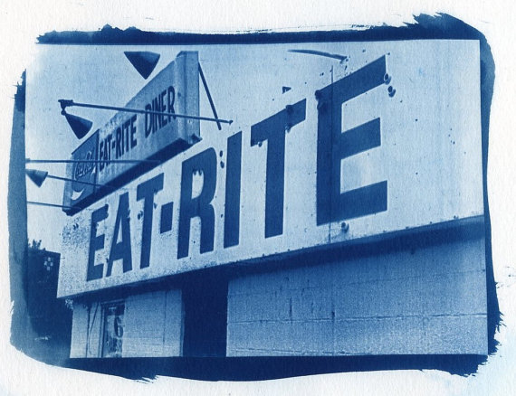 Jane Linders Photography - Cyanotype Eat Rite Diner Print