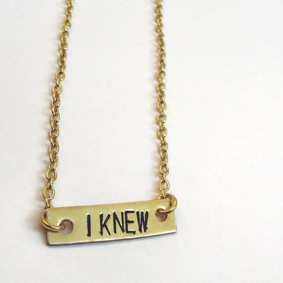 Lateef Accessories - Custom Name Stamped Gold Tone Horizontal Bar Name Necklace