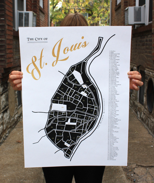 MA / PA - A printed map of the City of St. Louis neighborhoods.