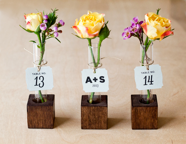 DIY Bud Vase Table Number Favor // Project Wedding
