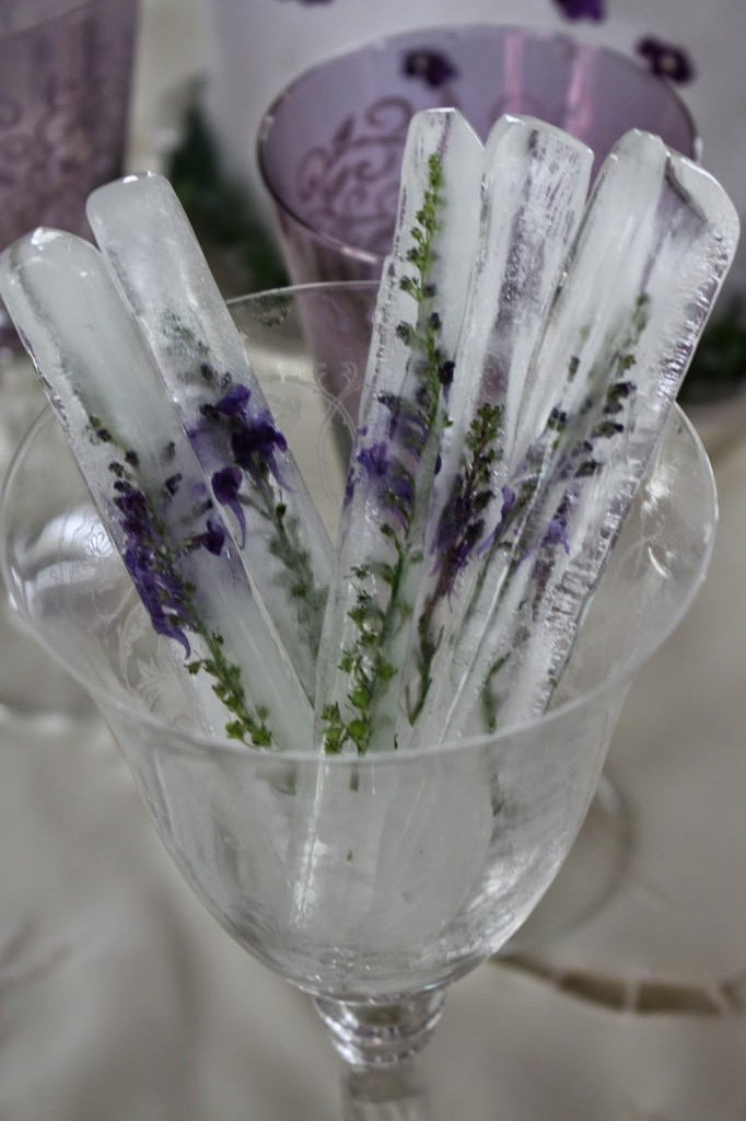 Edible Flowers frozen in ice cubes // Rooted in Thyme