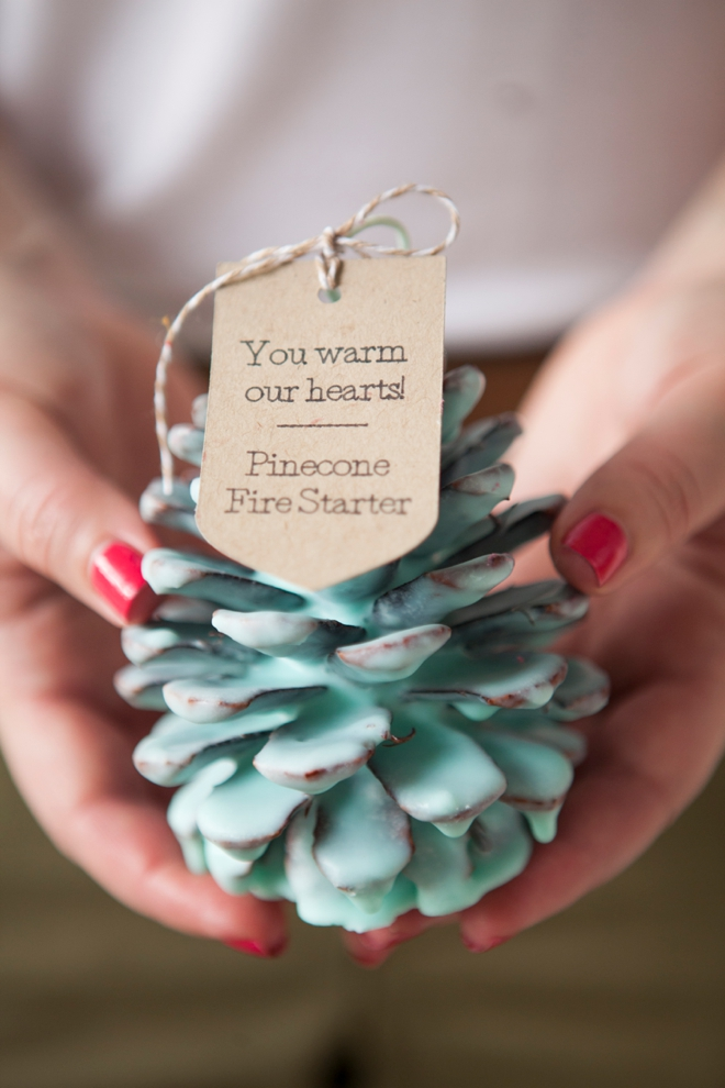DIY Pine Cone Fire Starter Favor // Something Turquoise